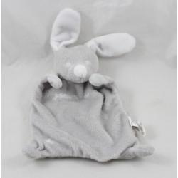 Doudou flat gray white GRAIN of wheat rabbit star rectangle 22 cm