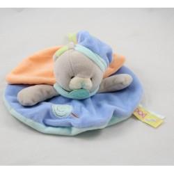 Doudou flache Katze BABY NAT' Gourmandise blau orange grün BN0126