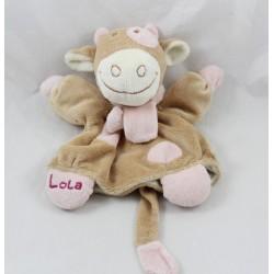 Doudou Puppe Lola Kuh NOUKIE Schal rosa und beige 24 cm