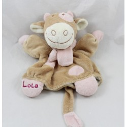 Doudou puppet Lola cow NOUKIE'S scarf pink and beige 24 cm