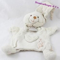 Doudou marionnette ours DOUDOU ET COMPAGNIE bio coton blanc 25 cm