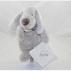 Doudou Hund DOUDOU UND COMPAGNY Ich liebe meine natürliche grau weiche Pad 25 cm