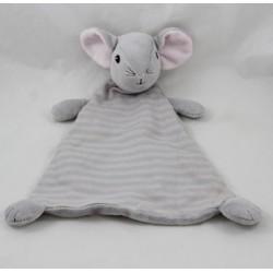 Doudou flat mouse h-M pink grey diamond stripes 30 cm