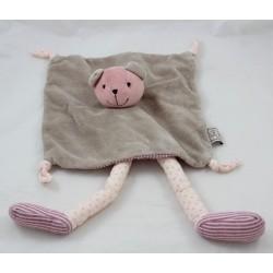 Flat Doudou Zoe Bear THEO AND INES head pink beige long legs