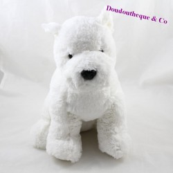 Dog peluche DAY HAPPY white brown collar 30 cm