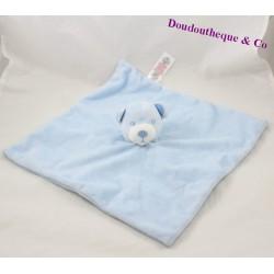 Doudou flat bear PRIMARK BABY bear blue white striped 30 cm