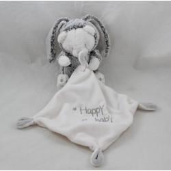 Doudou ours ORCHESTRA déguisé lapin chiné gris blanc Happy baby 35 cm
