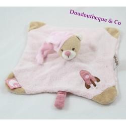 Doudou flat bear NATTOU Milo - Lena rocket pink beige cap