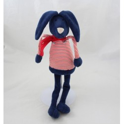 Plush rabbit end ' marine blue scarf striped CABBAGE red Monoprix 42 cm