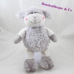 Peluche mouton VADIMO'S PATECE gris blanc fleur 30 cm