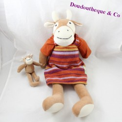 Cow and her baby MOULIN ROTY The Big Family striped dress 48 cm
