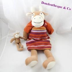 Peluche vache et son bébé MOULIN ROTY La Grande Famille robe rayée 48 cm