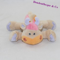 Mini doudou cow NATTOU beige rattle 15 cm