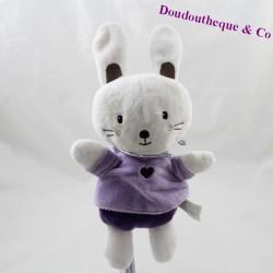 Doudou rabbit NICOTOY purple purple heart 25 cm