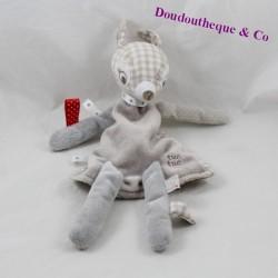 Doudou marionnette biche TUC TUC faon beige carreaux vichy 32 cm