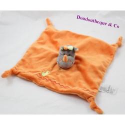 Doudou plat rhinocéros KIABI JOGYSTAR orange 27 cm