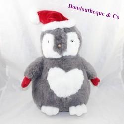 Peluche pingouin ETAM range pyjama doudou bouillotte bonnet 38 cm