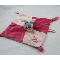Soft flat rabbit RODADOU RODA pink baby rattle 3 knots 26 cm