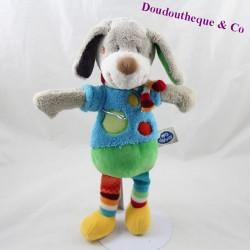 Doudou chien MOTS D'ENFANTS Leclerc bleu vert jambes rayées 31 cm