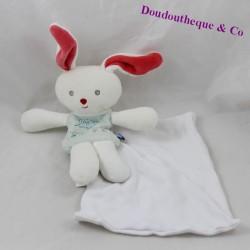 Doudou mouchoir lapin SUCRE D'ORGE Cajou bleu blanc 18 cm