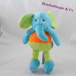 Doudou éléphant U TOUT PETITS bleu vert 25 cm