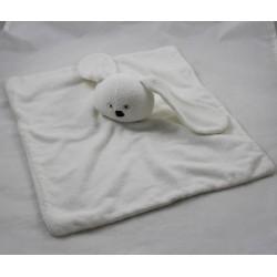 Doudou plat lapin HEMA blanc éponge yeux croix 35 cm