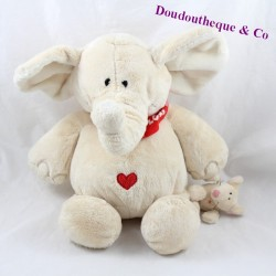 Elephant towel and mouse NICI beige scarf red heart 30 cm