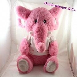 Large plush elephant pink white t-shirt 45 cm