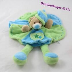 Soft flat bear TOODO round blue green 23 cm