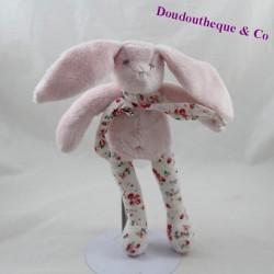 Doudou rabbit SERGENT MAJOR pink flowers white scarf 26 cm