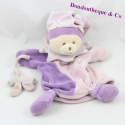 Doudou puppet bear DOUDOU AND COMPAGNY purple butterfly 22 cm