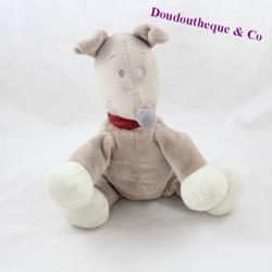 Peluche chien KIABI gris collier rouge 24 cm