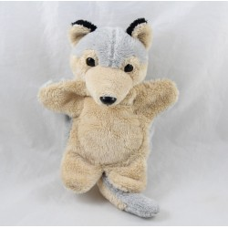 Doudou wolf puppet IN SYCOMORE beige gray 25 cm