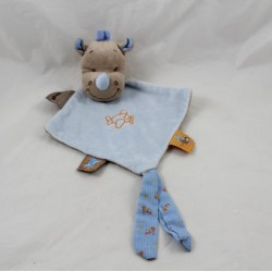 Doudou flat rhinoceros NATTOU Arthur and Louis diamond blue plane 24 cm