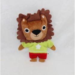 Mini doudou lion MILAN JEUNESSE Marion Red green brown ticket 14 cm