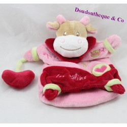 Doudou cow puppet BABY NAT Nina loves the pink green cuddles 24 cm