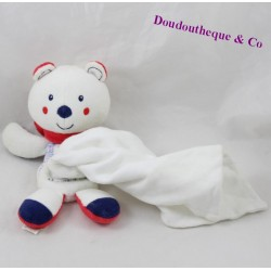 Doudou handkerchief bear SUCRE D'ORGE Red blue 18 cm