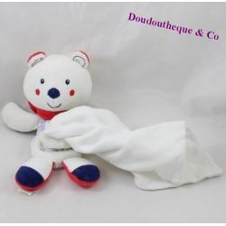 Doudou mouchoir ours SUCRE D'ORGE Cajou bleu rouge 18 cm