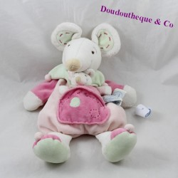 Doudou mouse DOUDOU AND COMPAGNY mom and her baby green pink 31 cm