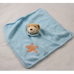 Flat doudou bear KALOO star orange wool blue square 29 cm