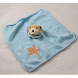 Flat doudou bear KALOO star orange wool blue square 29 cm