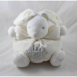 Doudou rabbit KALOO Pearl patapouf cream grey embroidery 25 cm