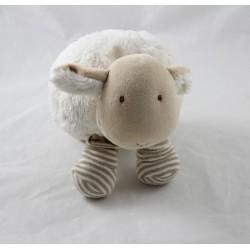 Peluche mouton NATALYS beige rayures marron boule 22 cm