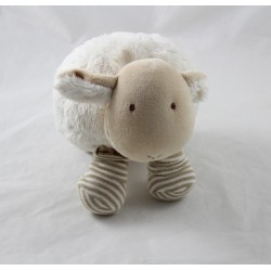Sheep towel NATALYS beige stripes brown ball 22 cm