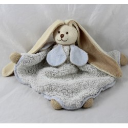 Doudou flat rabbit BUKOWSKI Viggo and Maria blue cream triangle 27 cm