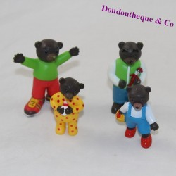 Lot of 4 Small Brown Bear Figures DANIELE BOUR BAYARD PRESSE Papa Bear