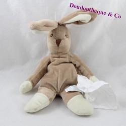 Doudou mouchoir lapin KIMBALOO marron et beige 32 cm