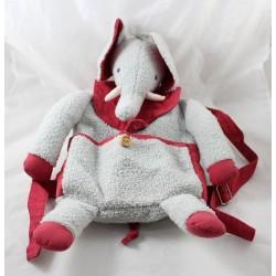 Sac à dos éléphant MOULIN ROTY gris rouge peluche 44 cm