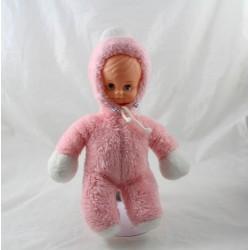 Pink doll NOUNOURS vintage hood blue eyes 29 cm