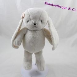 Doudou lapin H&M beige fleurs noeuds sur la tête 25 cm